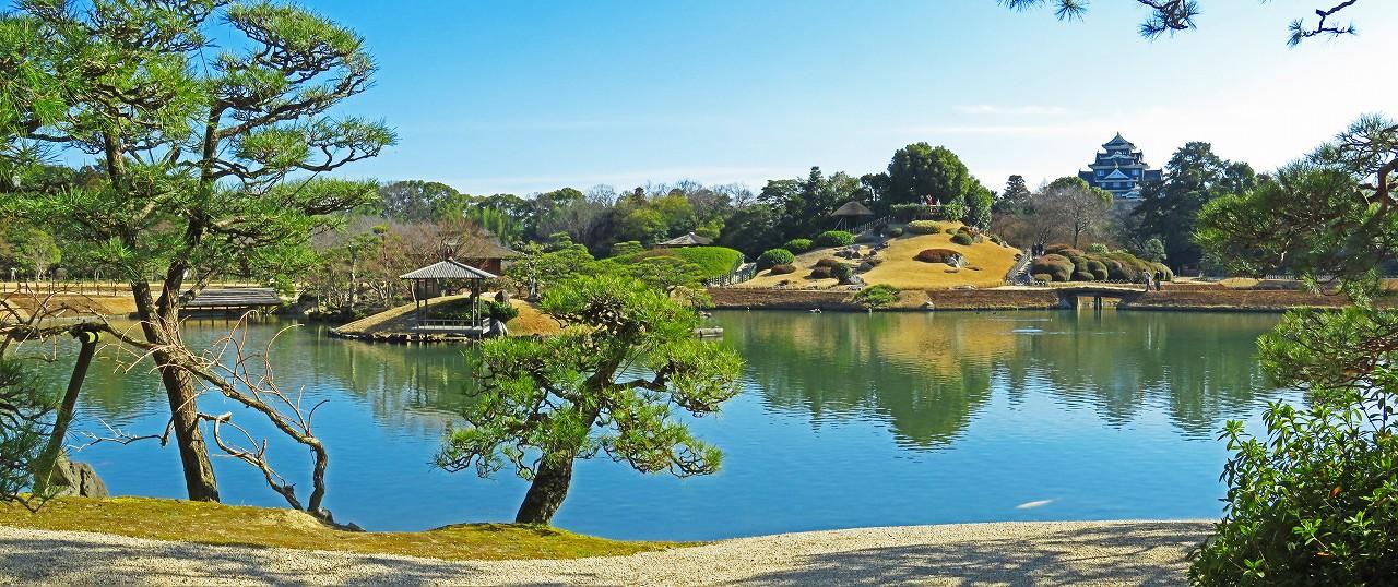 20170228 後楽園今日の午後の観光定番位置から眺めた園内ワイド風景 (1)