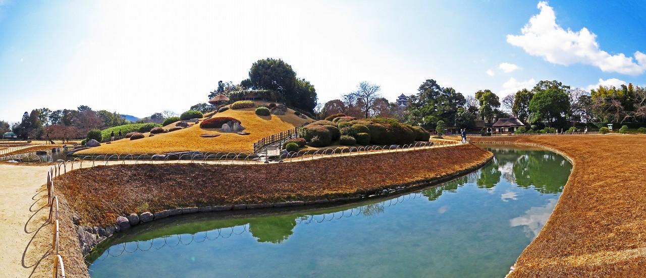 20170311 後楽園今日のひょうたん池越えに眺めた園内ワイド風景 (1)