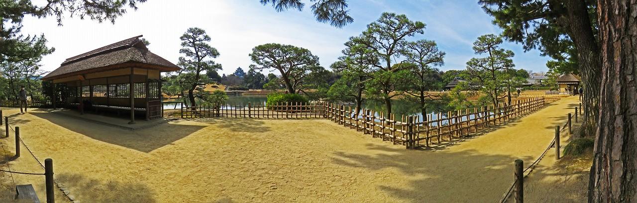 20170312 後楽園今日の観光定番位置から眺めた園内ワイド風景 (1)