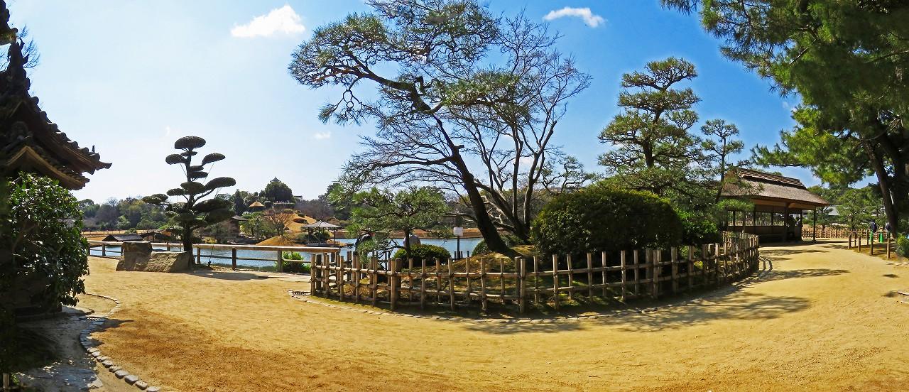 20170317 後楽園今日の慈眼堂横の人宿りの腰掛から眺めた園内ワイド風景 (1)
