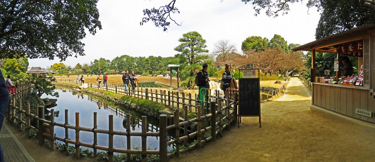 20170318 後楽園今日のさざなみ茶店から眺めた園内ワイド風景 (1)