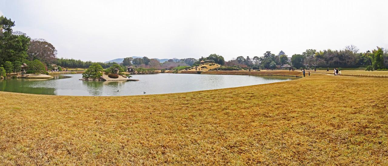 20170329 後楽園今日の沢の池越しに眺めた園内ワイト風景 (1)