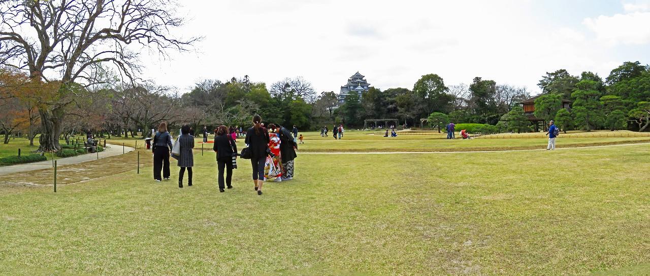20170401 後楽園今日のイベント広場の芝が緑の色に変わり始めた園内ワイド風景 (1)