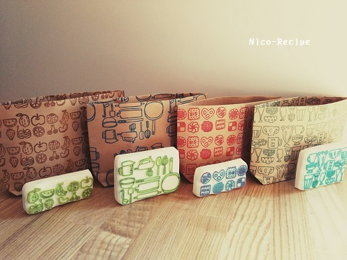 集合柄クラフト袋