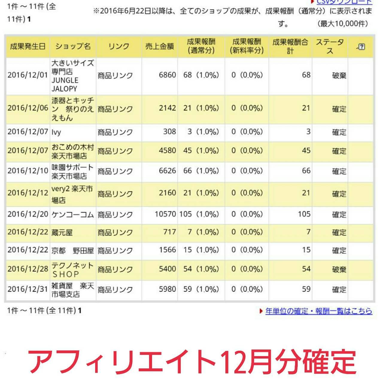 12月分のアフィリエイト収入確定金額