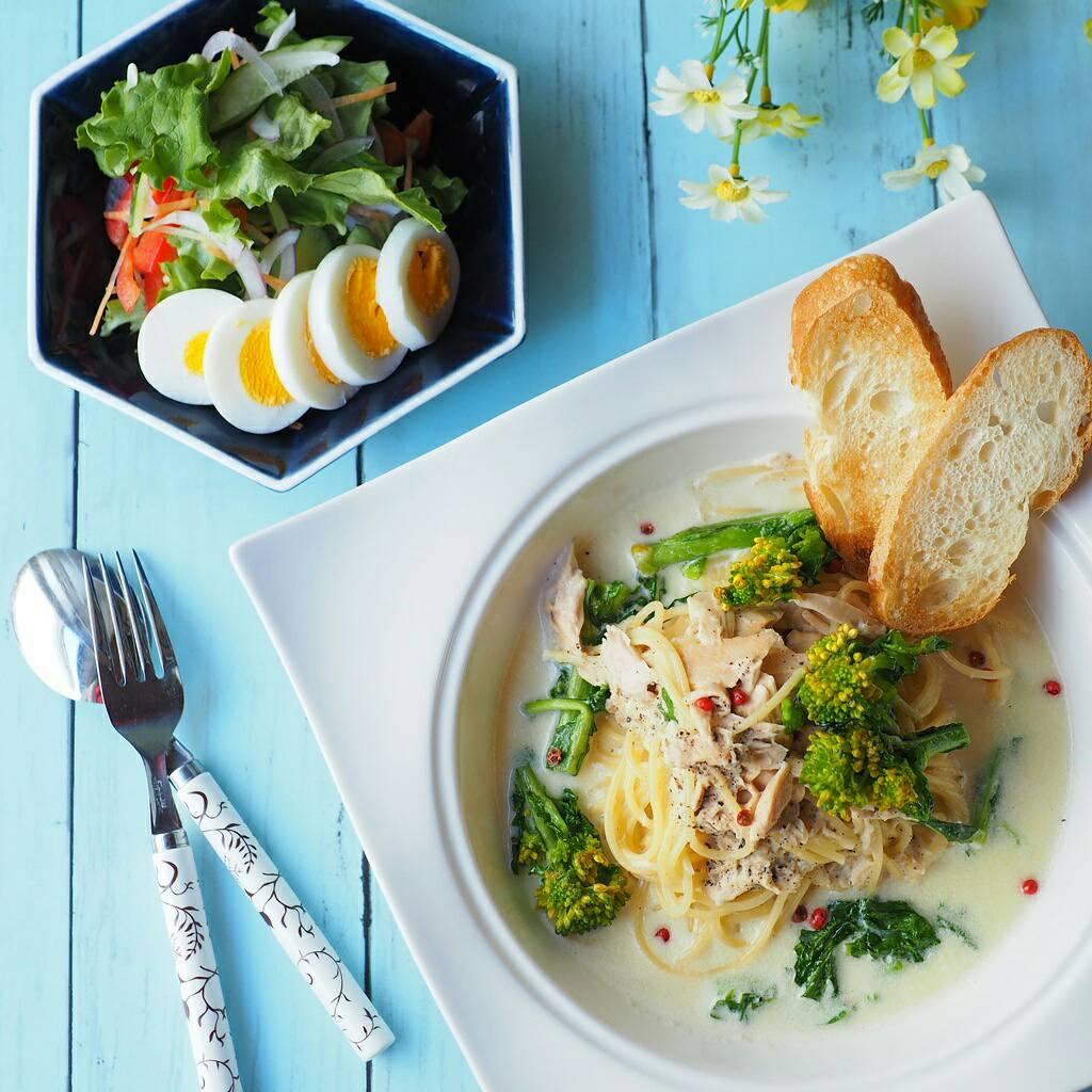 菜の花とツナのクリームスープパスタ