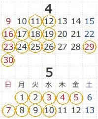 2017 4-5 7連勤