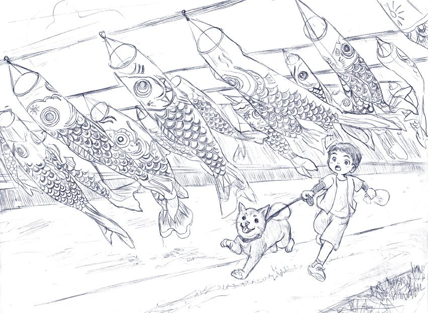 170226加茂の鯉のぼり下書き(解像度72)