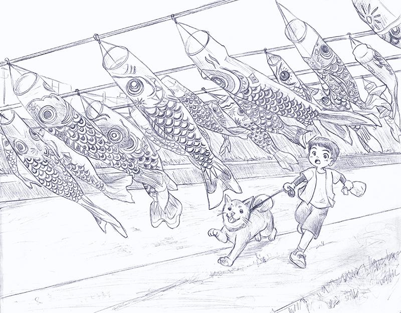 170305下書き_加茂川の鯉のぼり