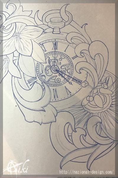 20170217 名古屋 新栄 栄 大須 tattoo タトゥー スタジオ NazionalDesign ピアス ピアッシング ボディピアス PocketWatch 時計 懐中時計 花 ブラックアンドグレー