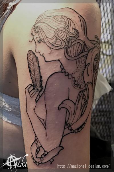 0170315 名古屋 新栄 栄 大須 tattoo タトゥー スタジオ NazionalDesign ピアス ピアッシング ボディピアス 痛くない 麻酔 安心 女性 女神 ブラックアンドグレー 腕