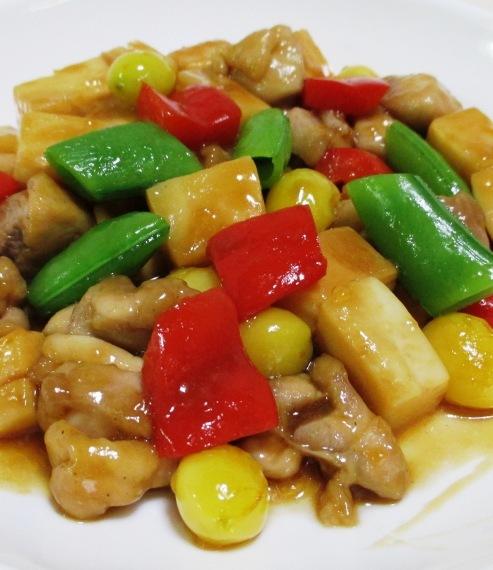 鶏もも肉と銀杏の炒め物 拡大