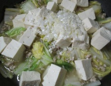 鶏ひき肉の白菜麻婆 調理⑤