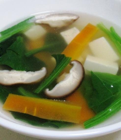 豆腐とほうれん草のスープ 大