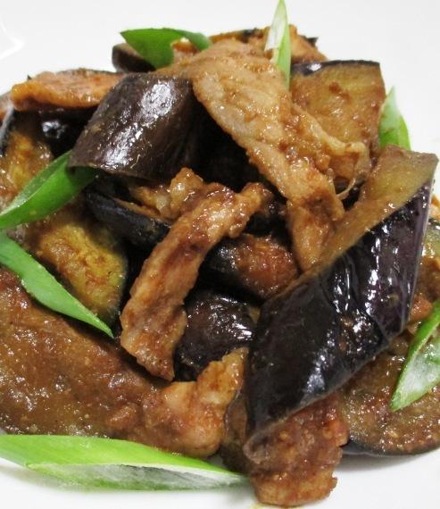 ナスと豚こまの胡麻味噌炒め 大