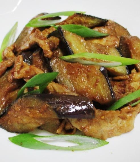 ナスと豚こまの胡麻味噌炒め B