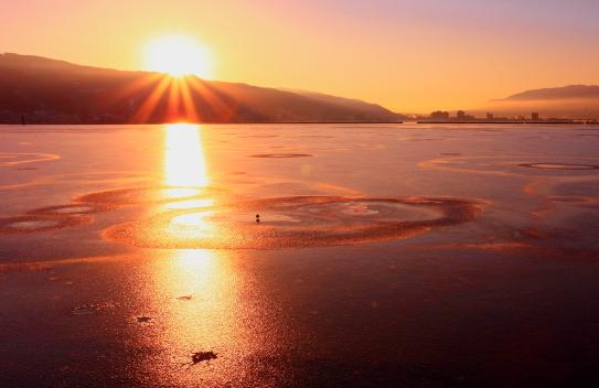 聖なる諏訪湖に水鳥と御来光