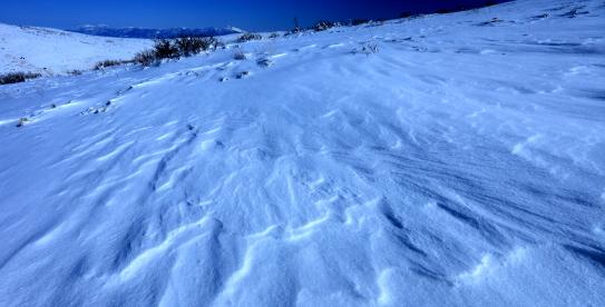 シュカブラの雪原と浅間山