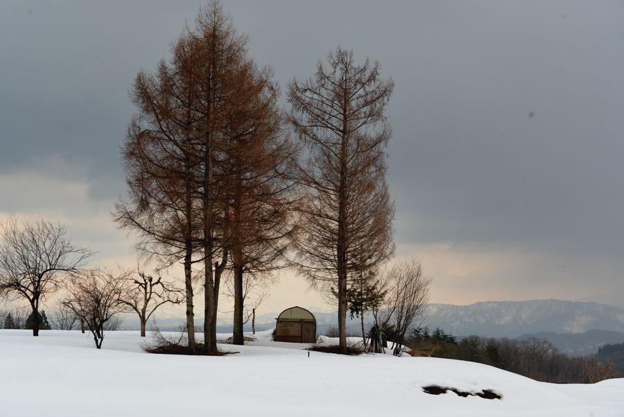 残雪残る山里-2