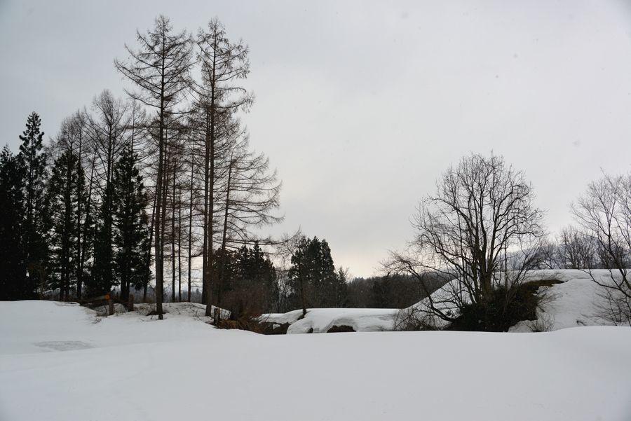 残雪残る山里-5