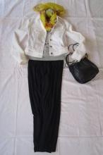白ジャケット・無印シルク混セーター