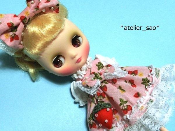 イチゴ柄のドレス◇ピンク◆ミディブライス1