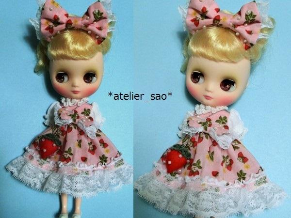 イチゴ柄のドレス◇ピンク◆ミディブライス2