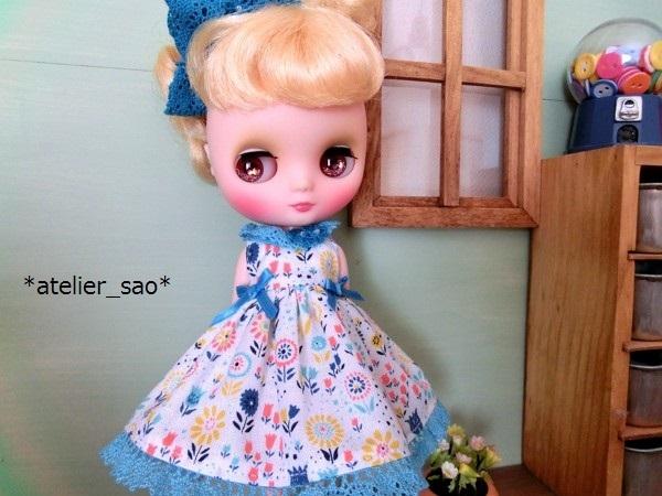 *atelier_sao*◆花柄春夏ワンピ白×ブルー◆ミディブライスアウトフィット1