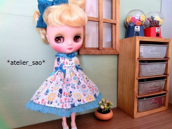 *atelier_sao*◆花柄春夏ワンピ白×ブルー◆ミディブライスアウトフィット2
