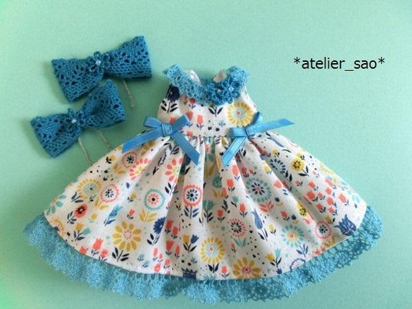 *atelier_sao*◆花柄春夏ワンピ白×ブルー◆ミディブライスアウトフィット3