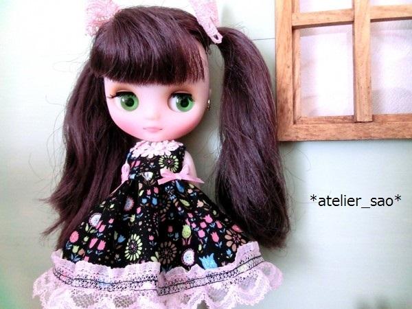 *atelier_sao*◆花柄春夏ワンピ黒×ピンク◆ミディブライスアウトフィット1