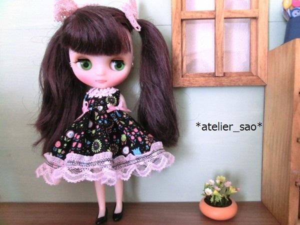 *atelier_sao*◆花柄春夏ワンピ黒×ピンク◆ミディブライスアウトフィット2