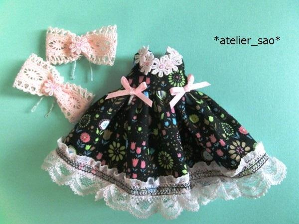 *atelier_sao*◆花柄春夏ワンピ黒×ピンク◆ミディブライスアウトフィット3