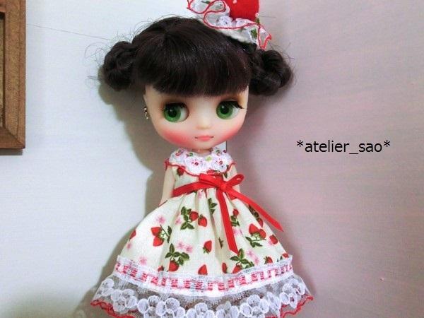 ◆イチゴ柄の白ドレス◆ミディブライスアウトフィット1