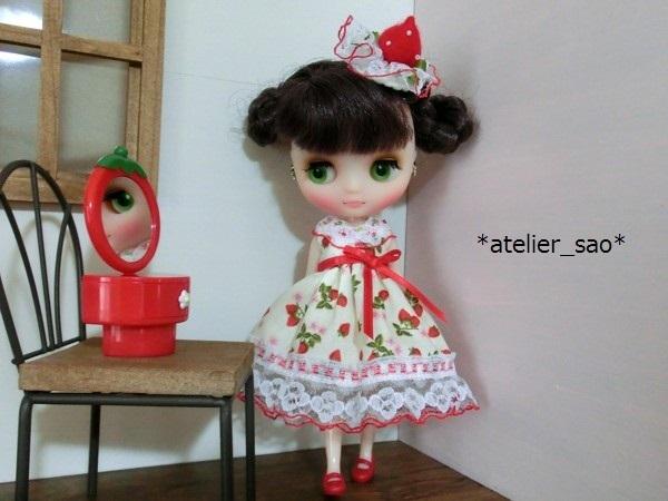 ◆イチゴ柄の白ドレス◆ミディブライスアウトフィット2