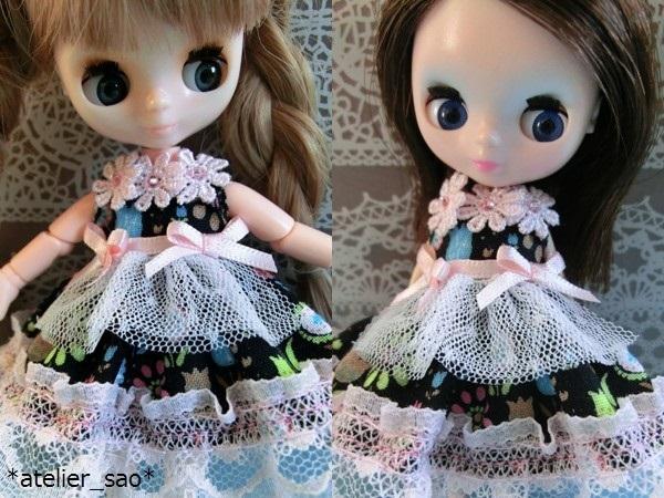 ◆春夏花柄黒ワンピ×ピンク◆オビツ11◆プチブライス◆ 1