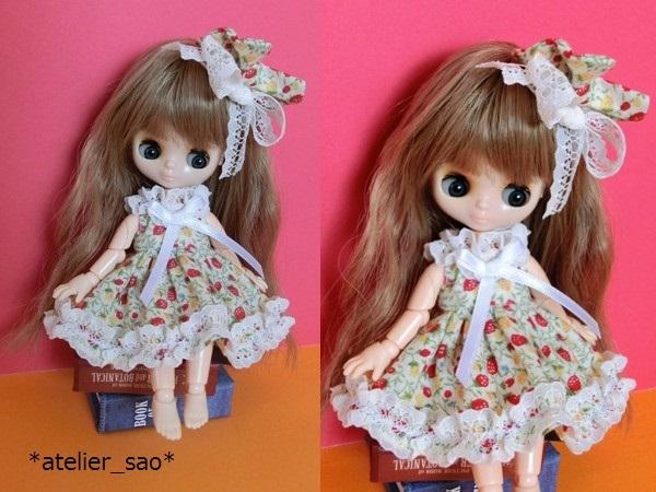 ◆イチゴ柄ドレス◇白地×赤◆オビツ11アウトフィット◆1