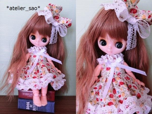 ◆イチゴ柄ドレス◇白地×赤◆オビツ11アウトフィット◆2