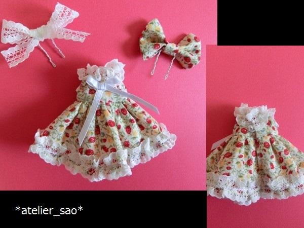◆イチゴ柄ドレス◇白地×赤◆オビツ11アウトフィット◆3