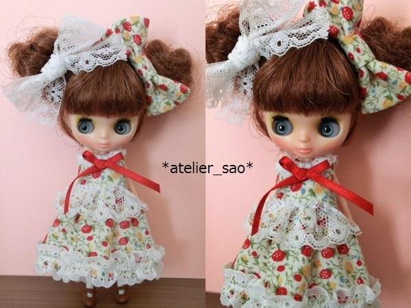 イチゴ柄ドレス◇白地×赤◆プチブライスアウトフィット◆1