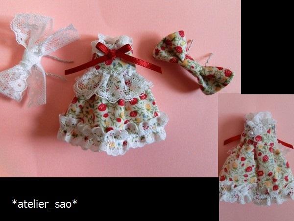 イチゴ柄ドレス◇白地×赤◆プチブライスアウトフィット◆2