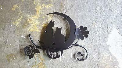 猫+薔薇+クローバー妻飾り
