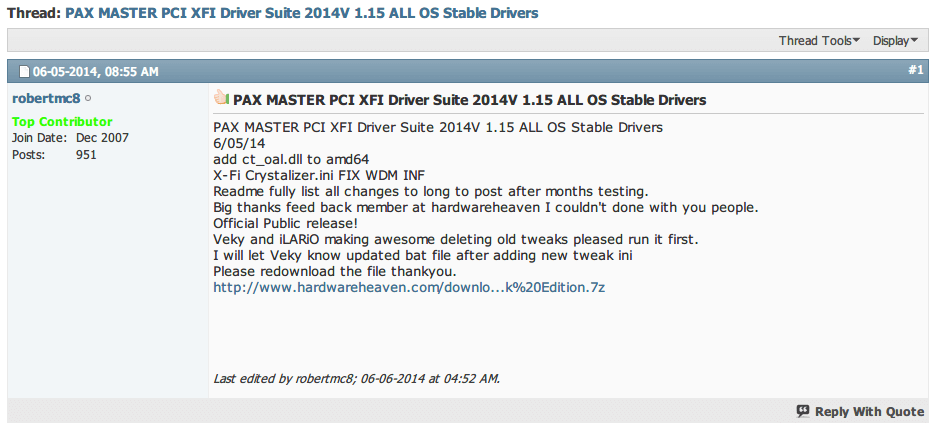 PAX MASTER PCI XFI Driver Suite 2014V 1.15 ALL OS Stable Drivers ダウンロード&インストール Creative フォーラム