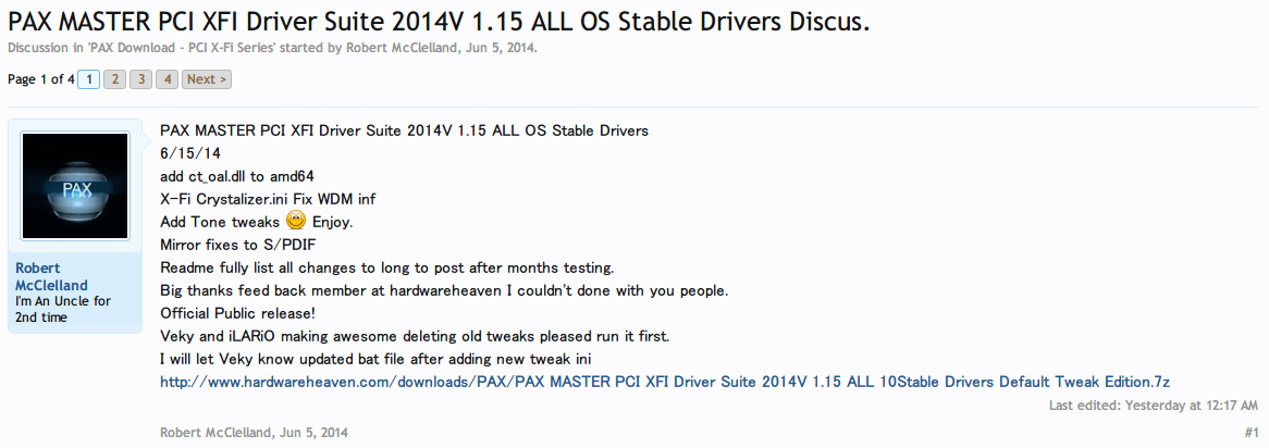 PAX MASTER PCI XFI Driver Suite 2014V 1.15 ALL OS Stable Drivers ダウンロード&インストール HardwareHeaven.com