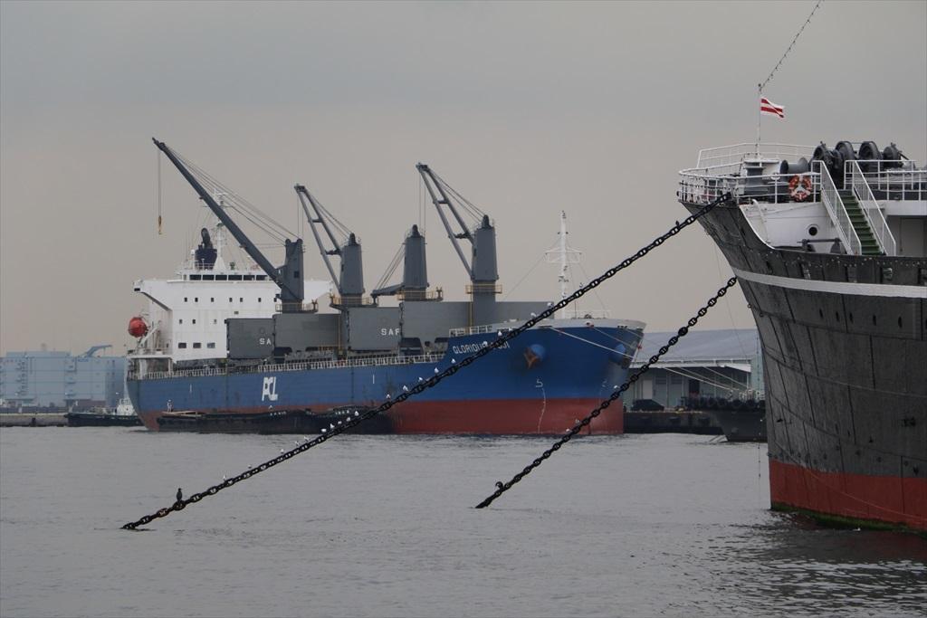 山下埠頭に停泊中の貨物船