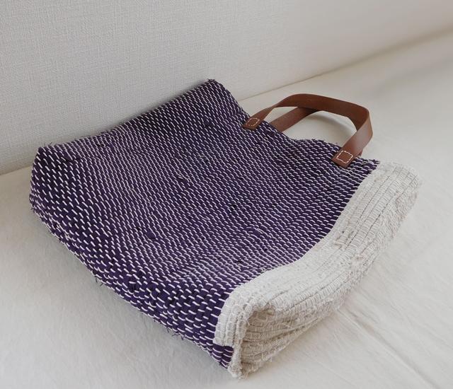 裂き織りバッグ 紫紺×生成り