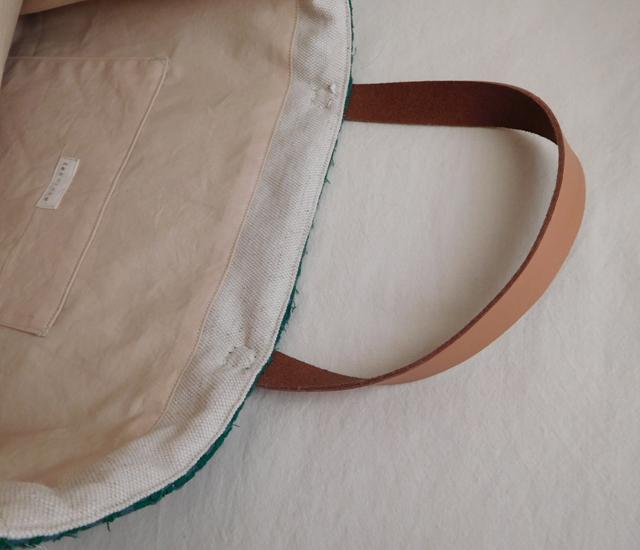 裂き織りバッグ グリーン