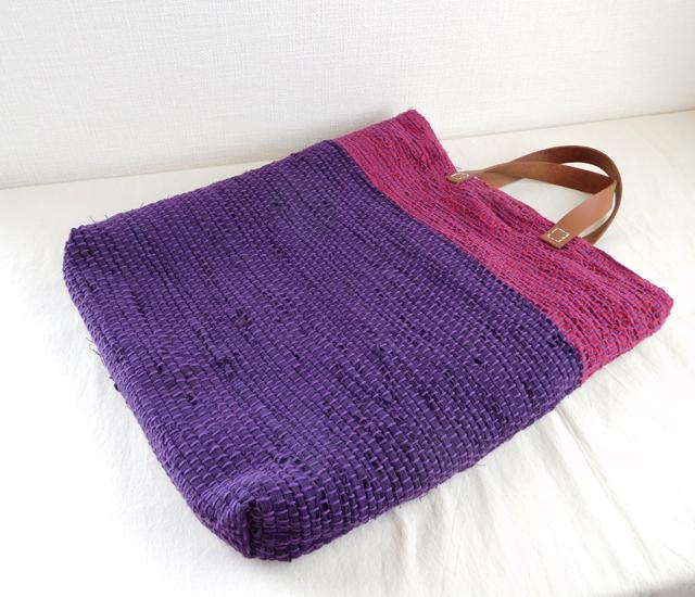 裂き織りバッグ 紫紺×エンジ