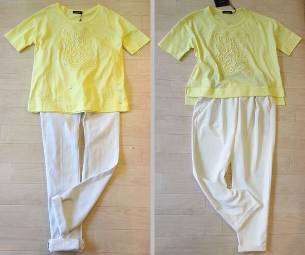 COPイエローTシャツ丈&襟ぐり1