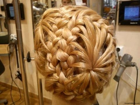 複雑な編み目と放射状に収束する後頭部のヘアー